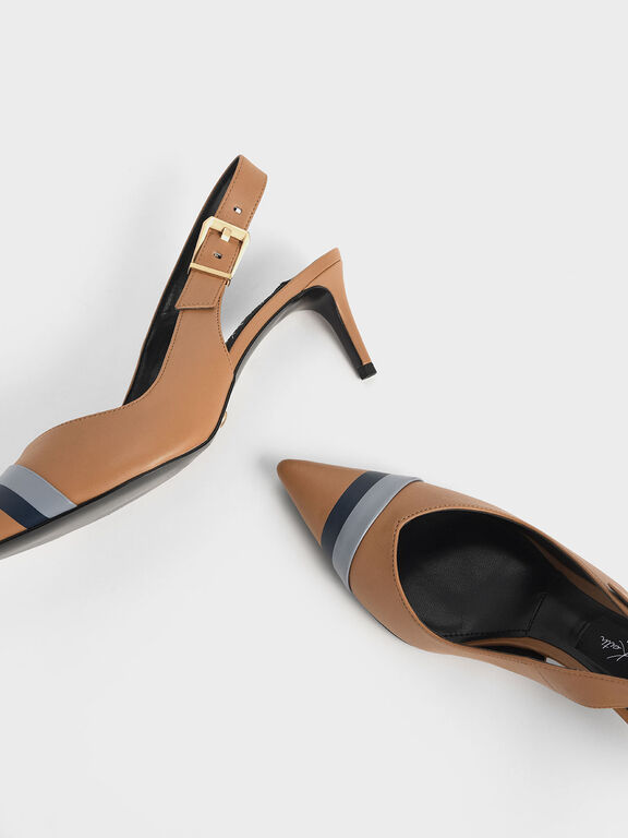 Striped Leather Slingback Heels, Caramel