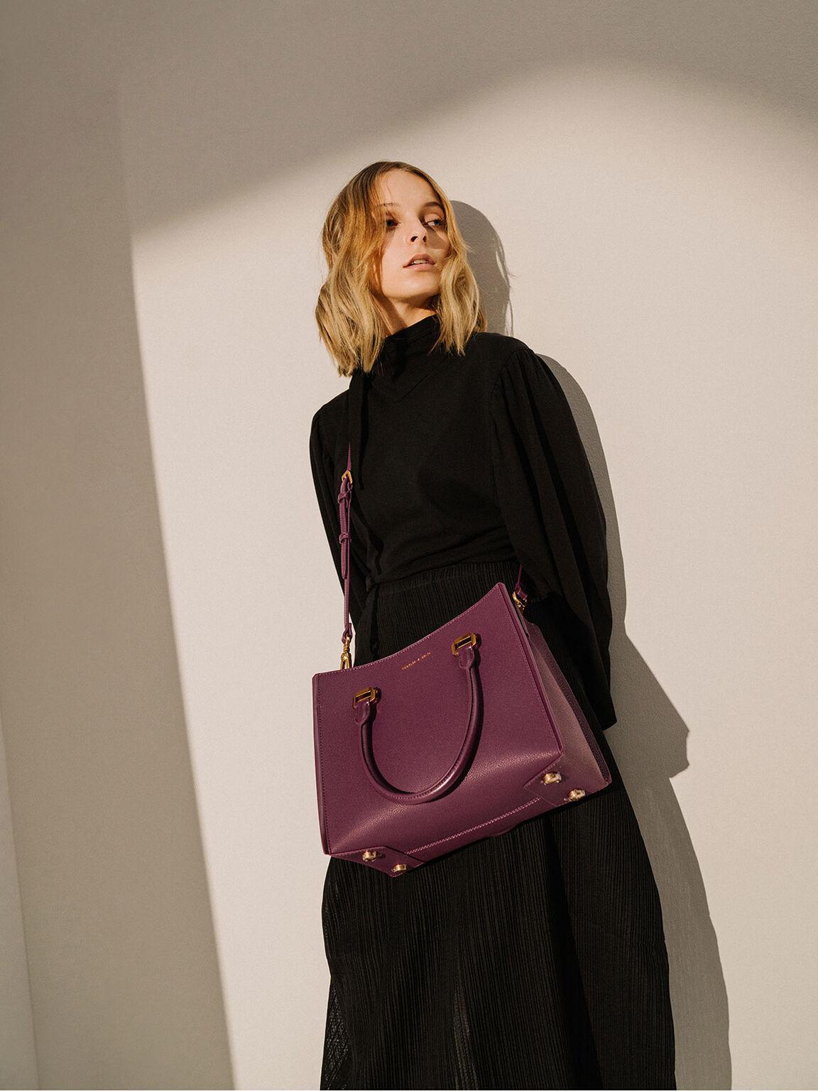 Large Double Handle Bag, Purple, hi-res