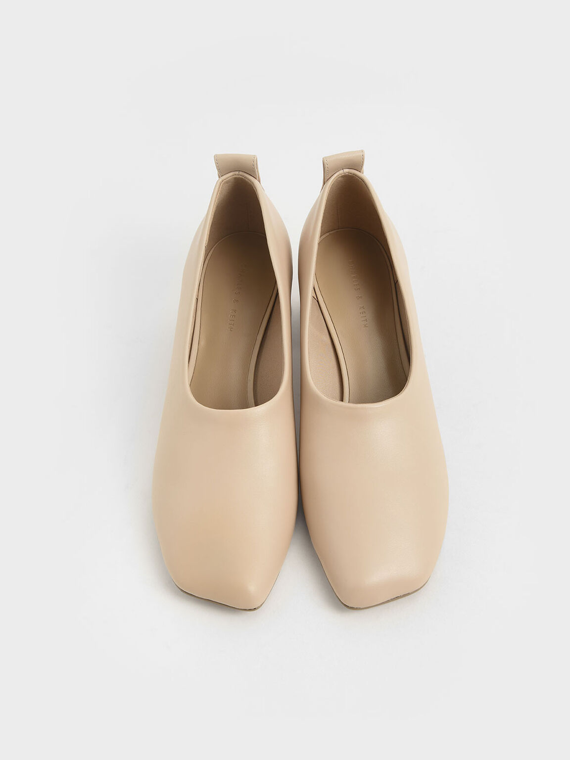 Block Heel Round Toe Court Shoes, Beige, hi-res