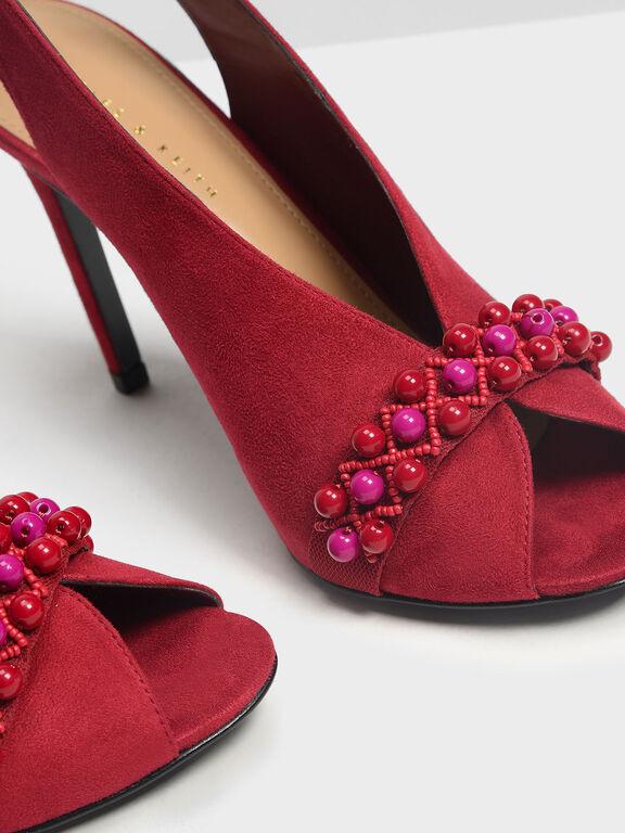 Embellished Peep Toe Slingbacks, Red, hi-res