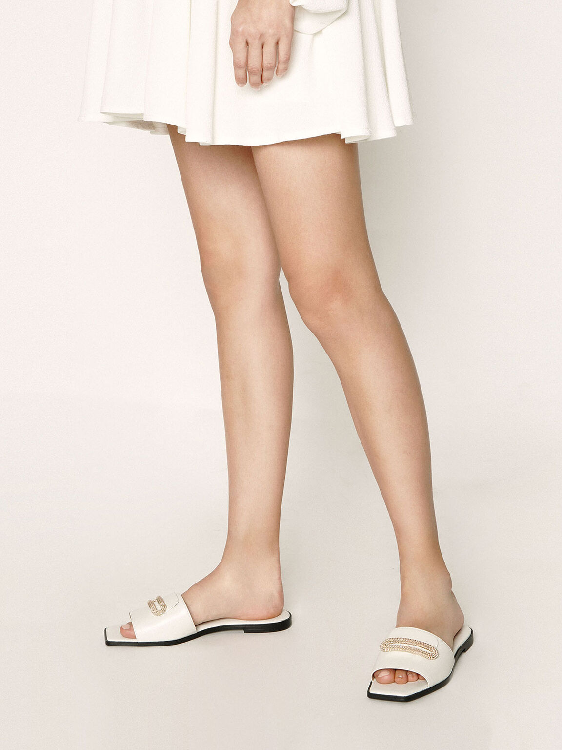 Leather Metallic Accent Slide Sandals, White, hi-res