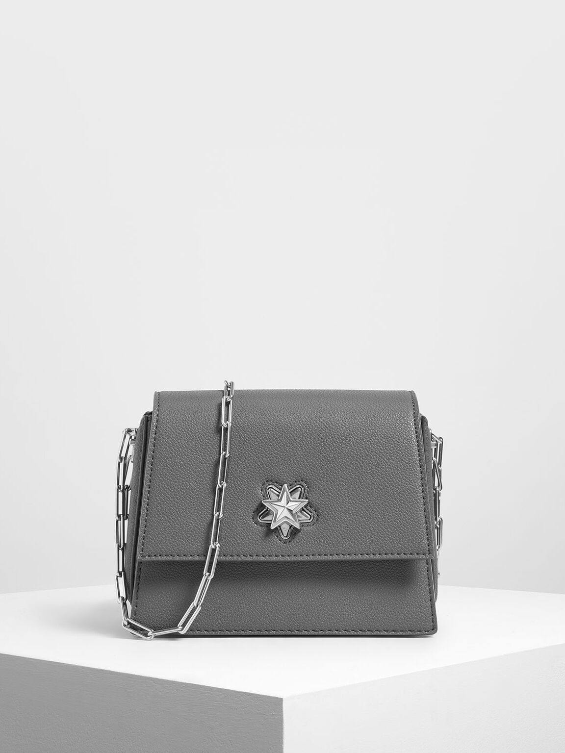 Star Buckle Crossbody Bag, Grey, hi-res