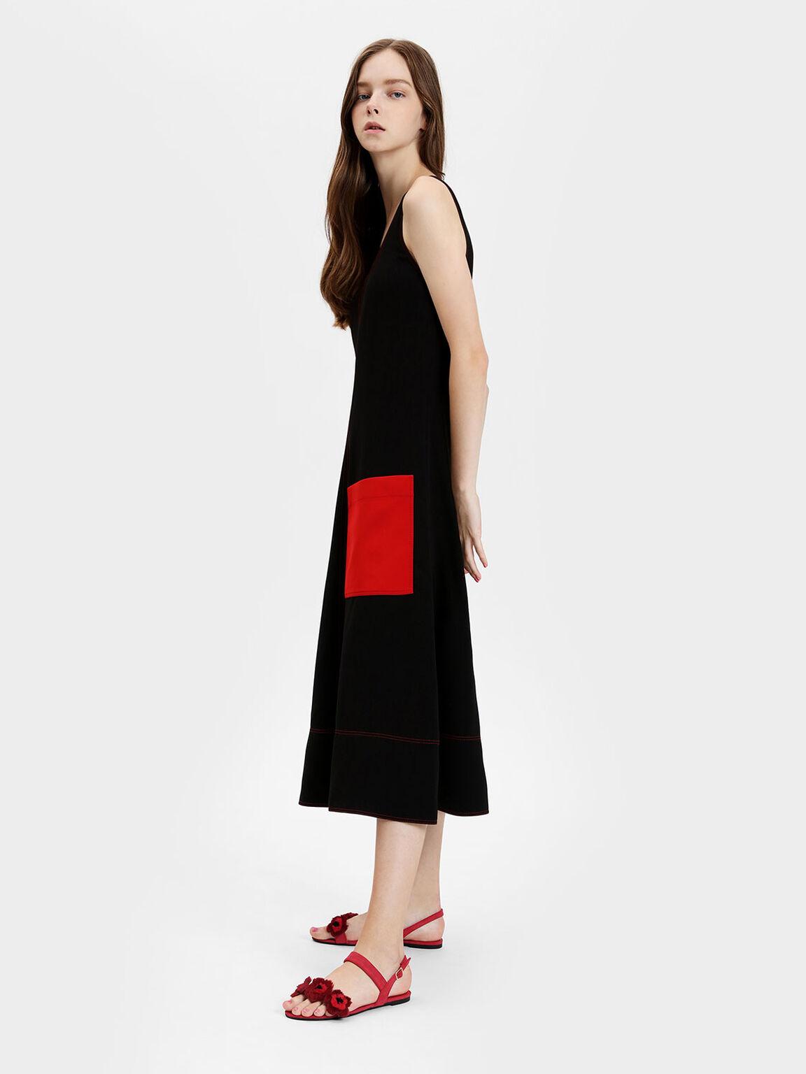 Furry Floral Detail Sandals, Red, hi-res