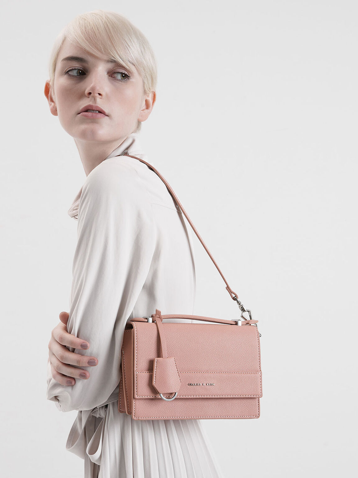 Front Flap Top Handle Bag, Pink, hi-res