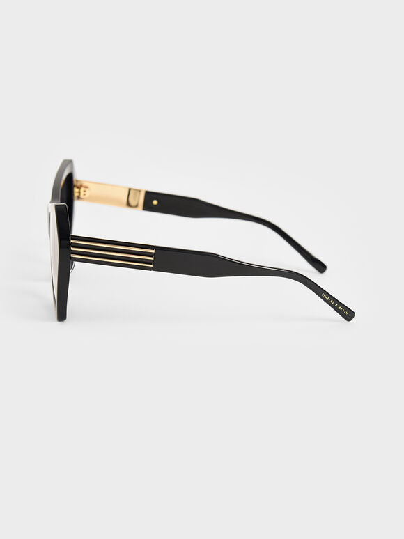 Geometric Frame Sunglasses, Black, hi-res