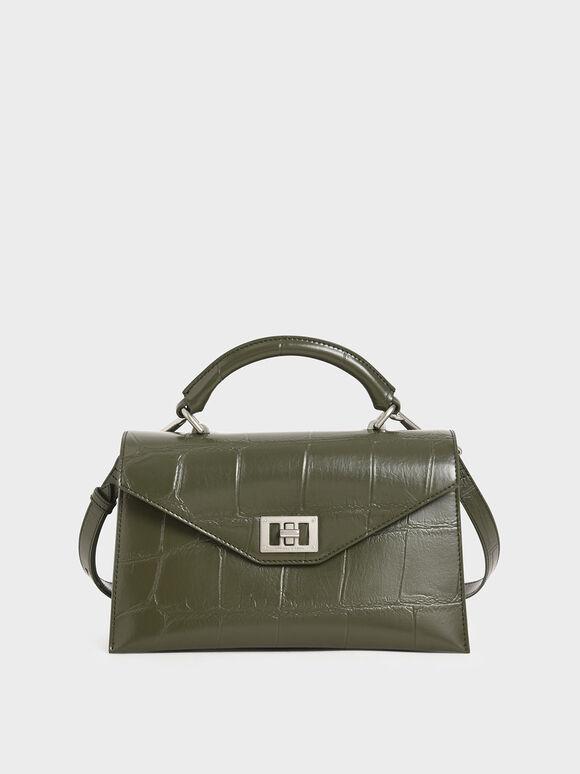 Croc-Effect Turn-Lock Top Handle Bag, Olive, hi-res