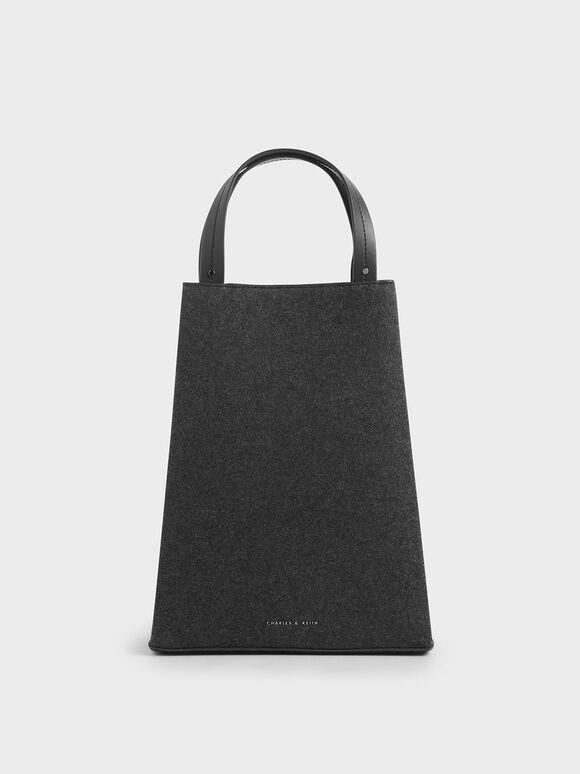 Elongated Felt Top Handle Bag, Dark Grey, hi-res