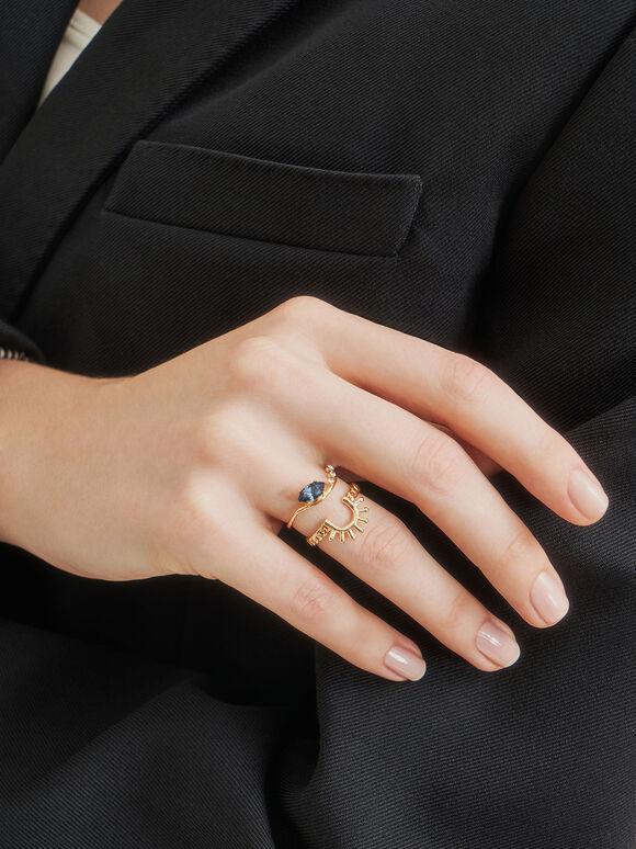 施華洛世奇®水晶幾何戒, 金色, hi-res