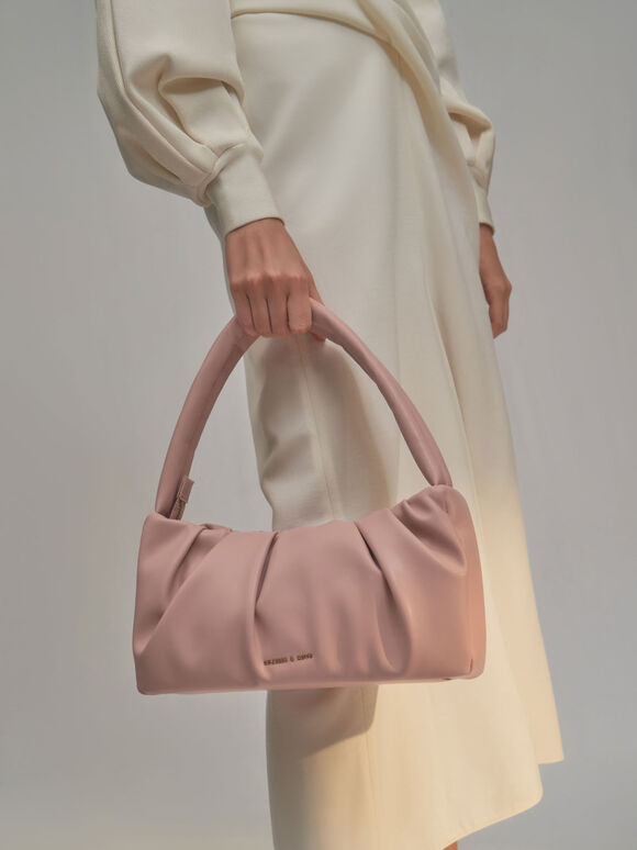 Ruched Top Handle Bag, Nude, hi-res