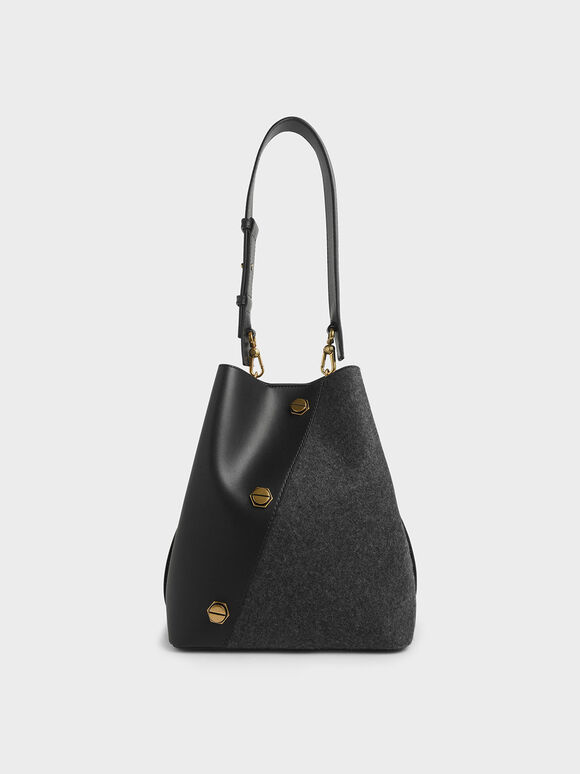 Studded Textured Hobo Bag, Black, hi-res