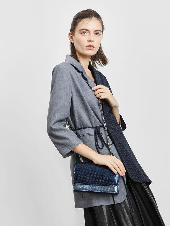 Sequin Evening Bag, Dark Blue, hi-res