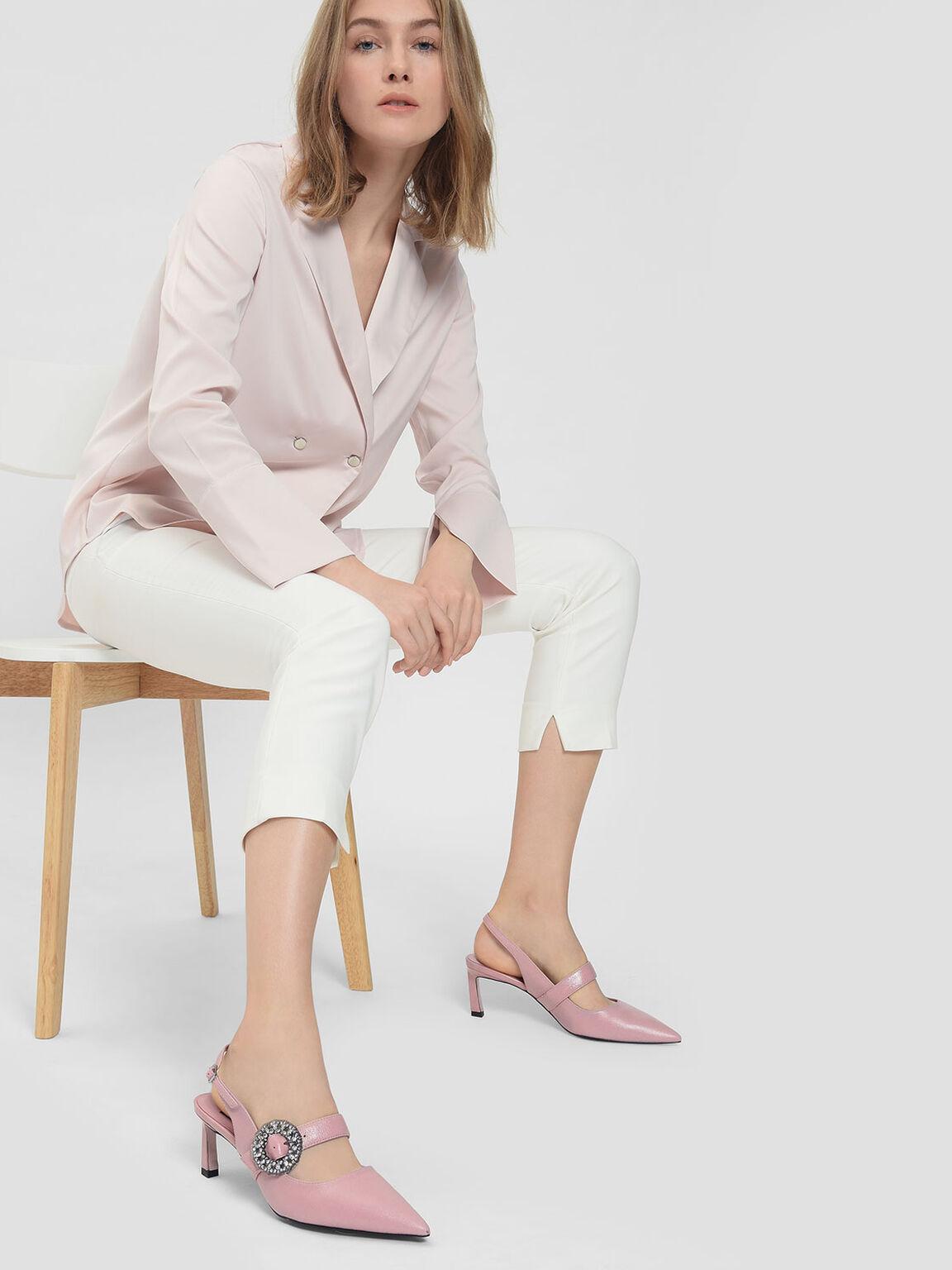 Crushed Gem Effect Buckle Leather Slingback, Pink, hi-res