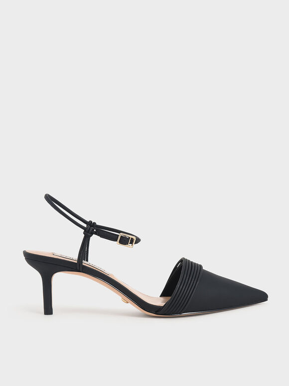 Leather Rope Detail Pumps, Black, hi-res