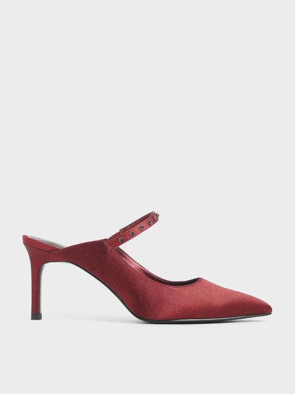 Satin Embellished Strap Mules, Red, hi-res