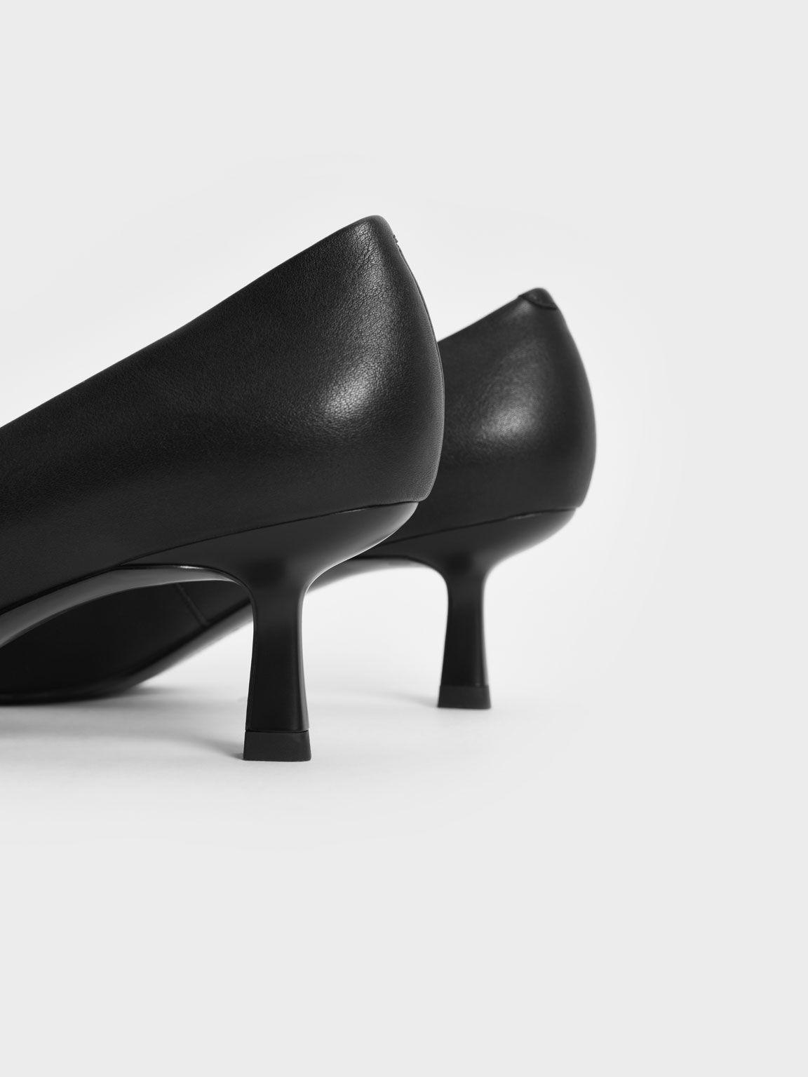 素面尖頭跟鞋, 黑色, hi-res