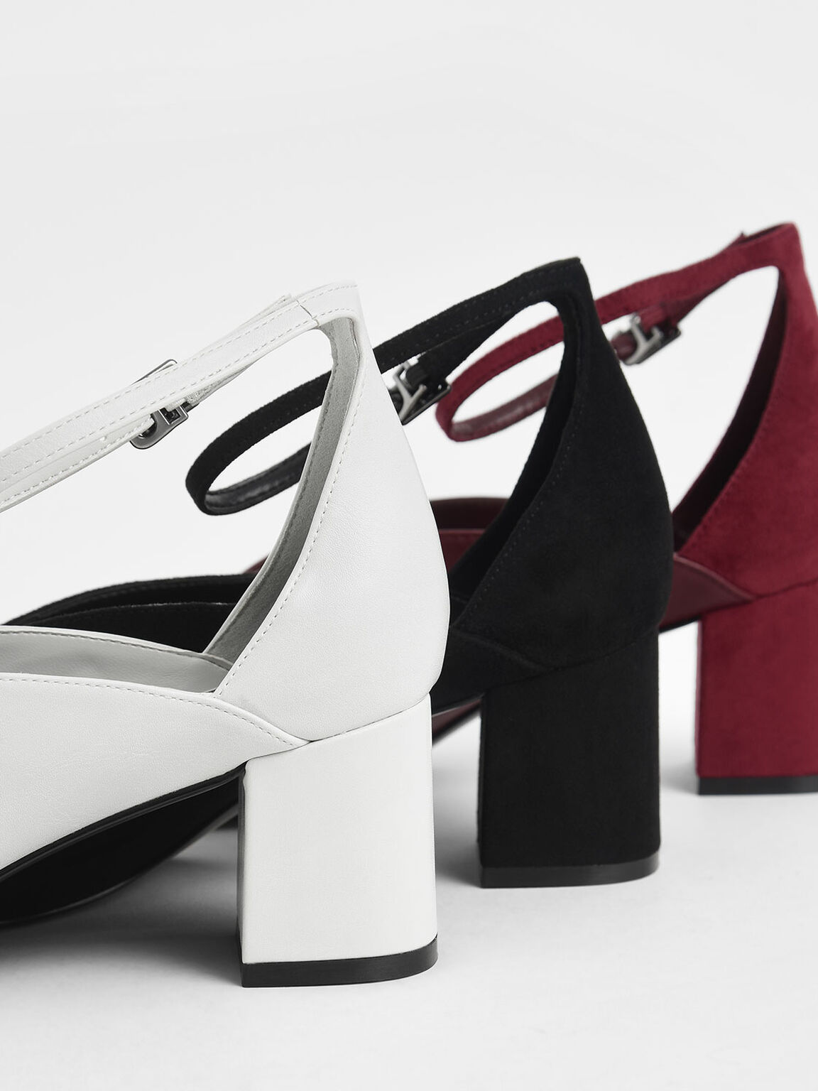 V-Cut Ankle Strap Pumps, White, hi-res