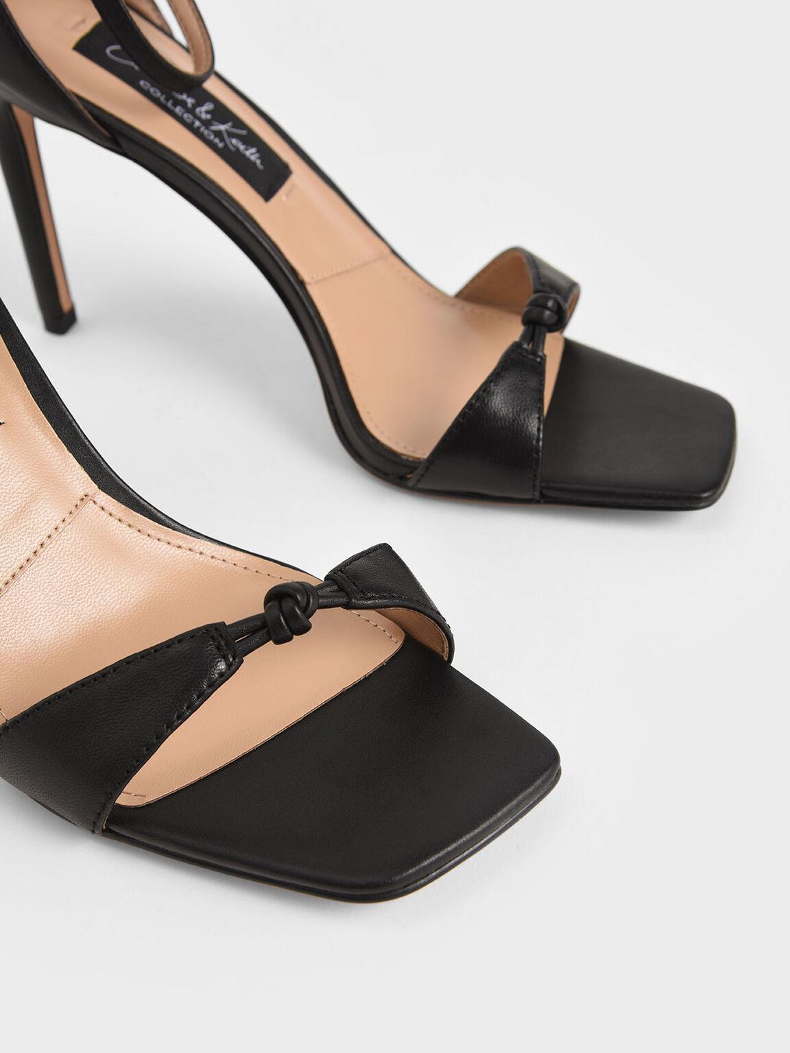 Leather Knot Detail Heeled Sandals, Black, hi-res