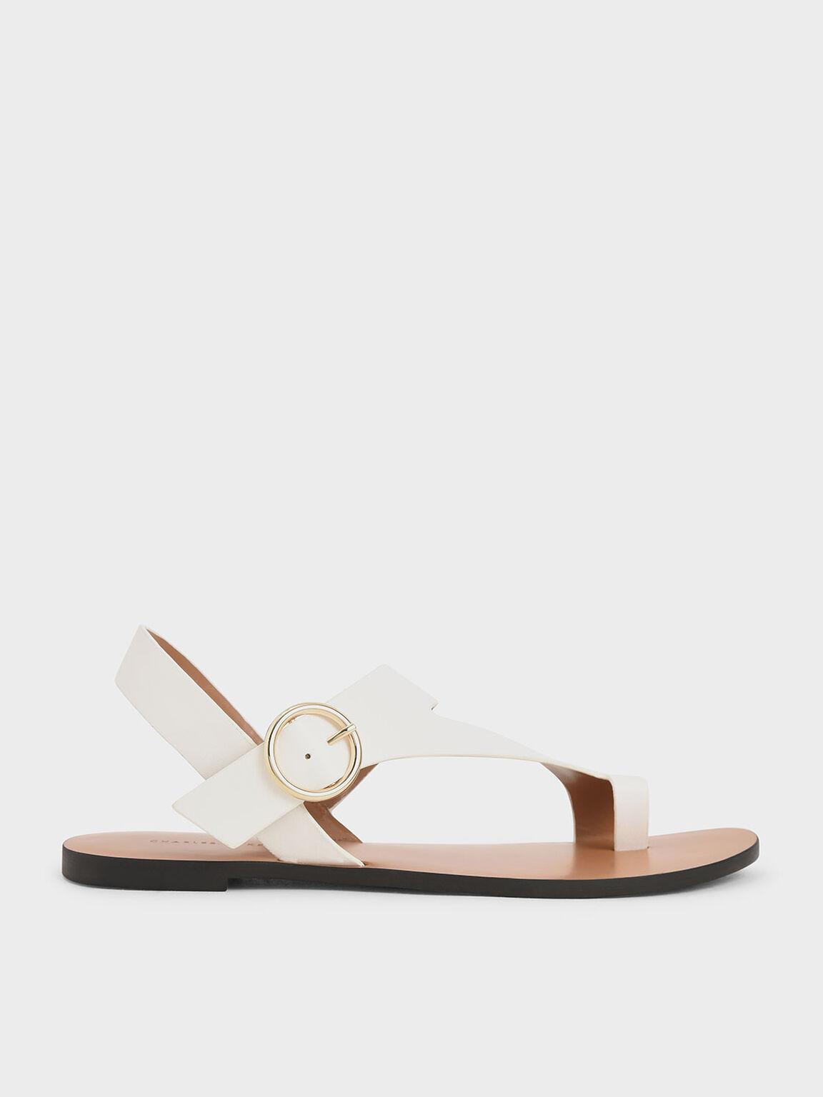 Toe Loop Asymmetric Strap Flats, White, hi-res
