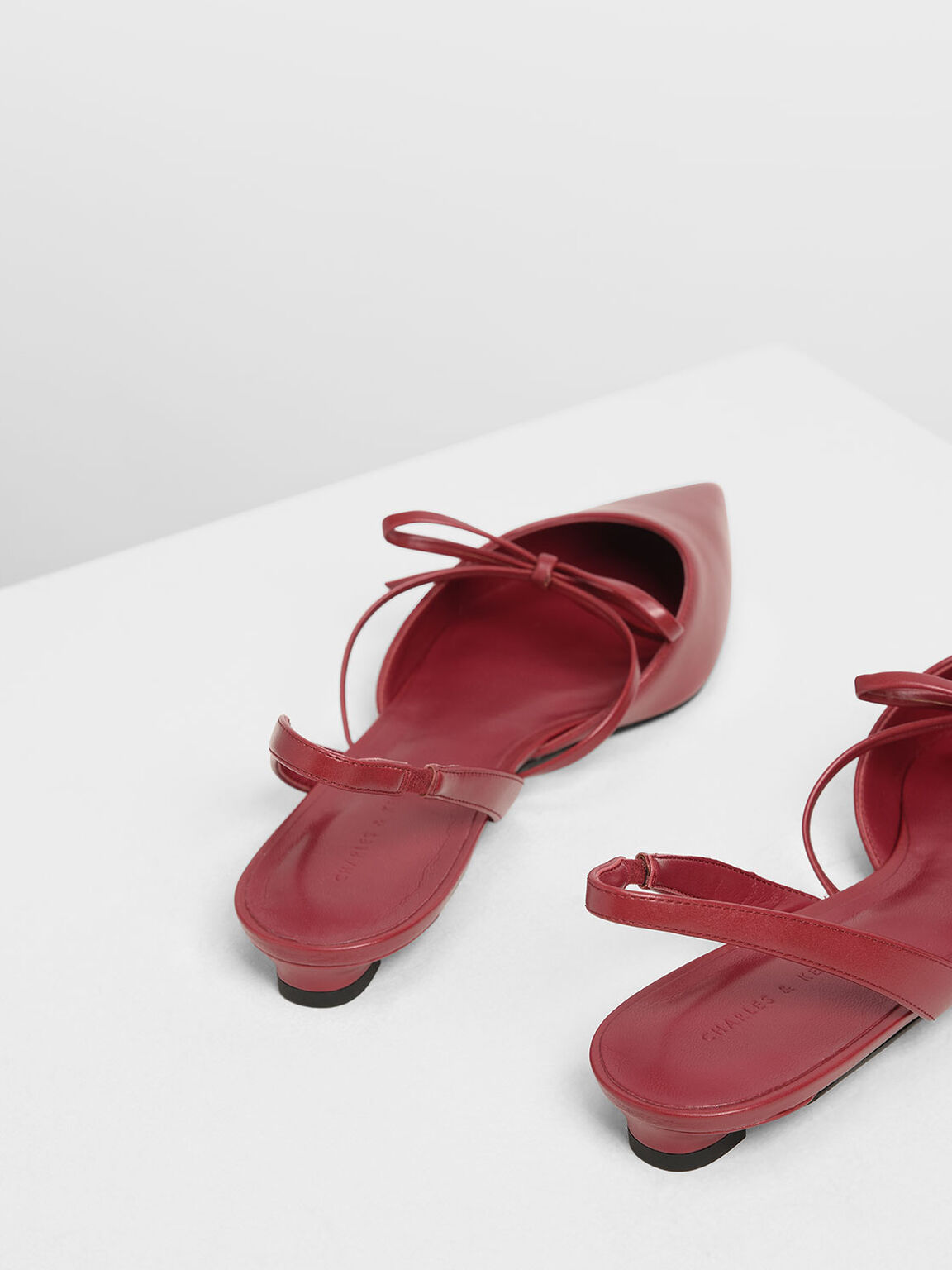 Bow Strap Slingback Flats, Red, hi-res
