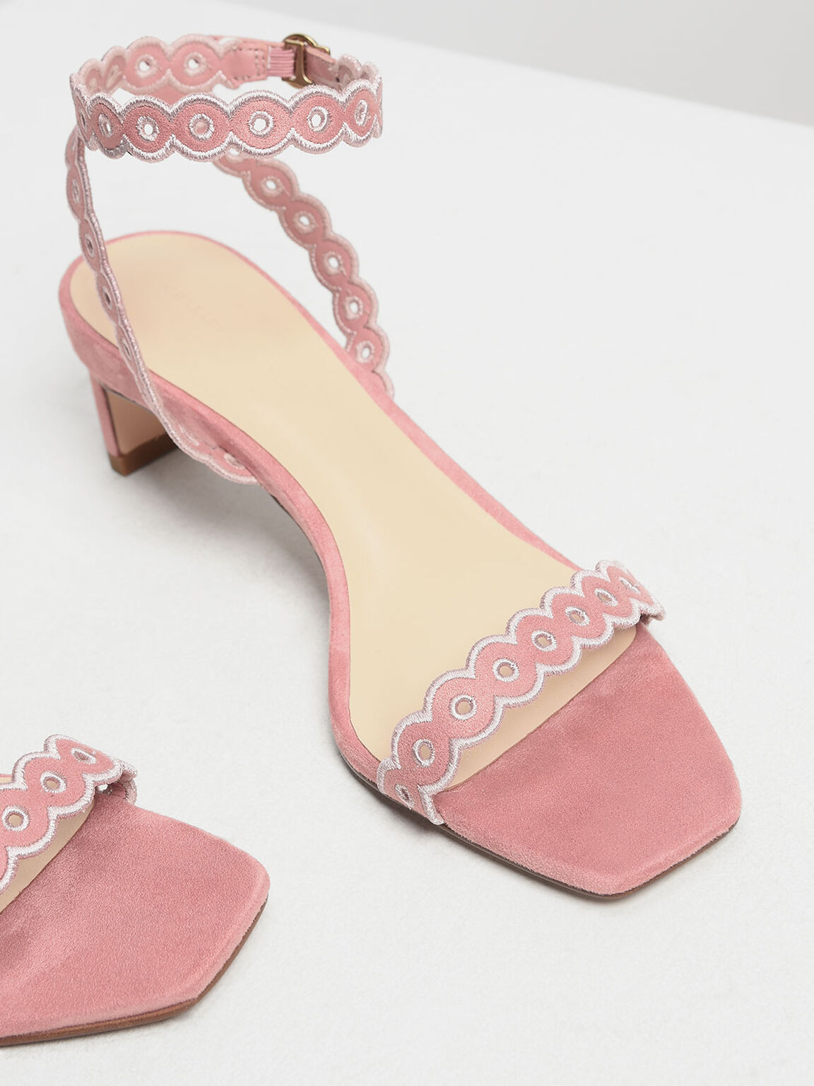 Circle Detail Ankle Strap Heels, Pink, hi-res