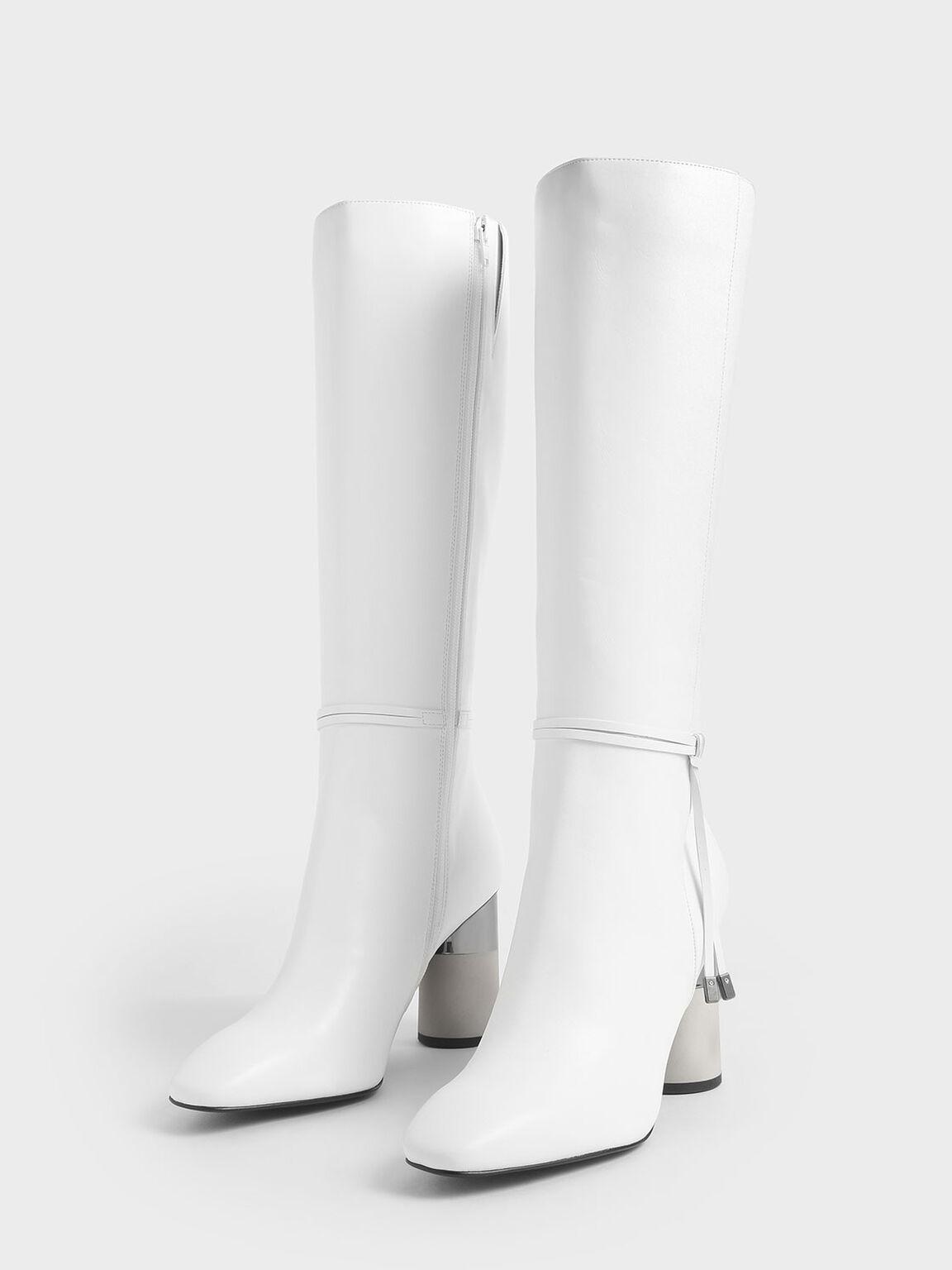 圓柱跟及膝靴, 白色, hi-res