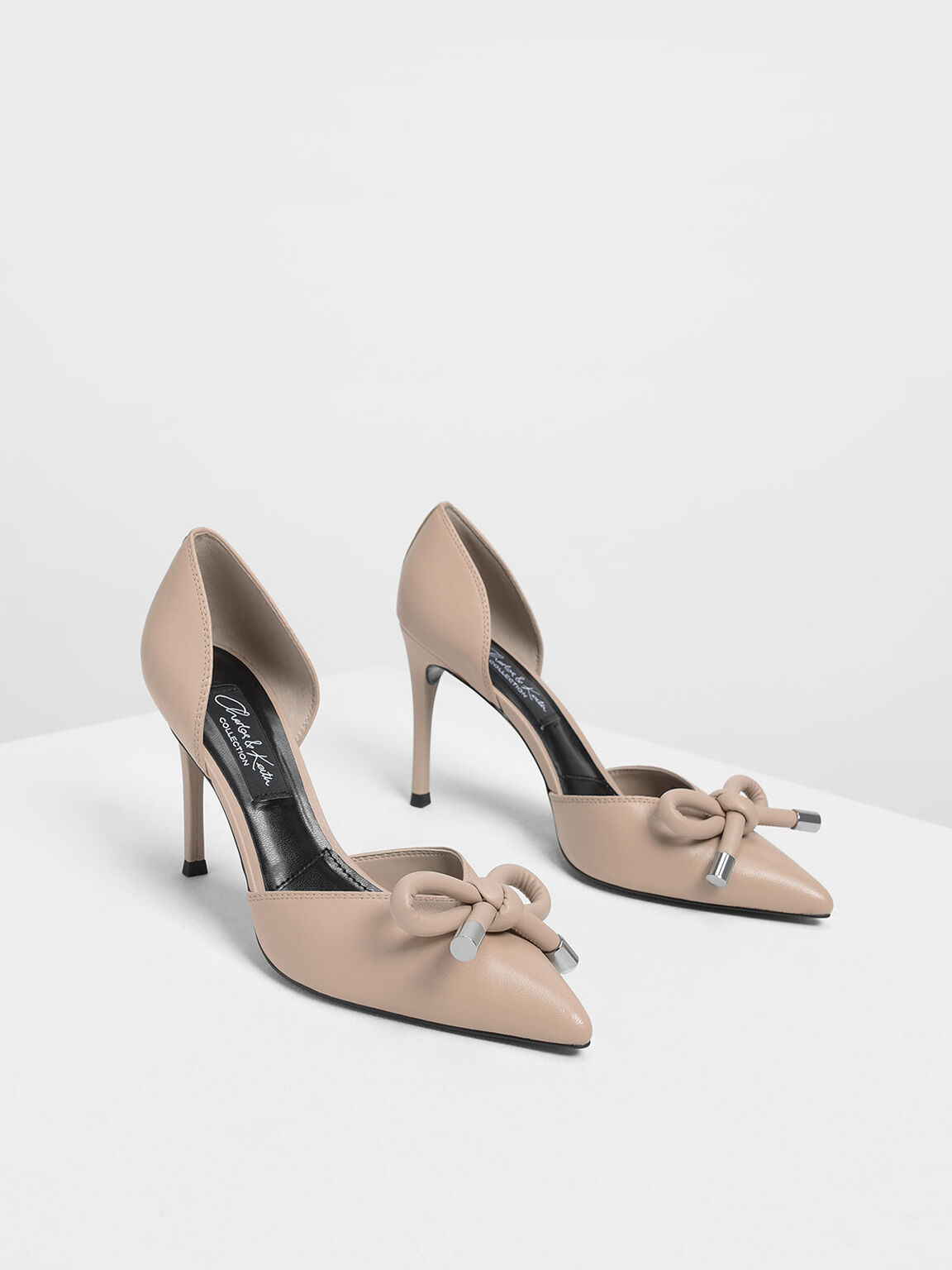 Bow Detail Leather D'Orsay Pumps, Nude, hi-res