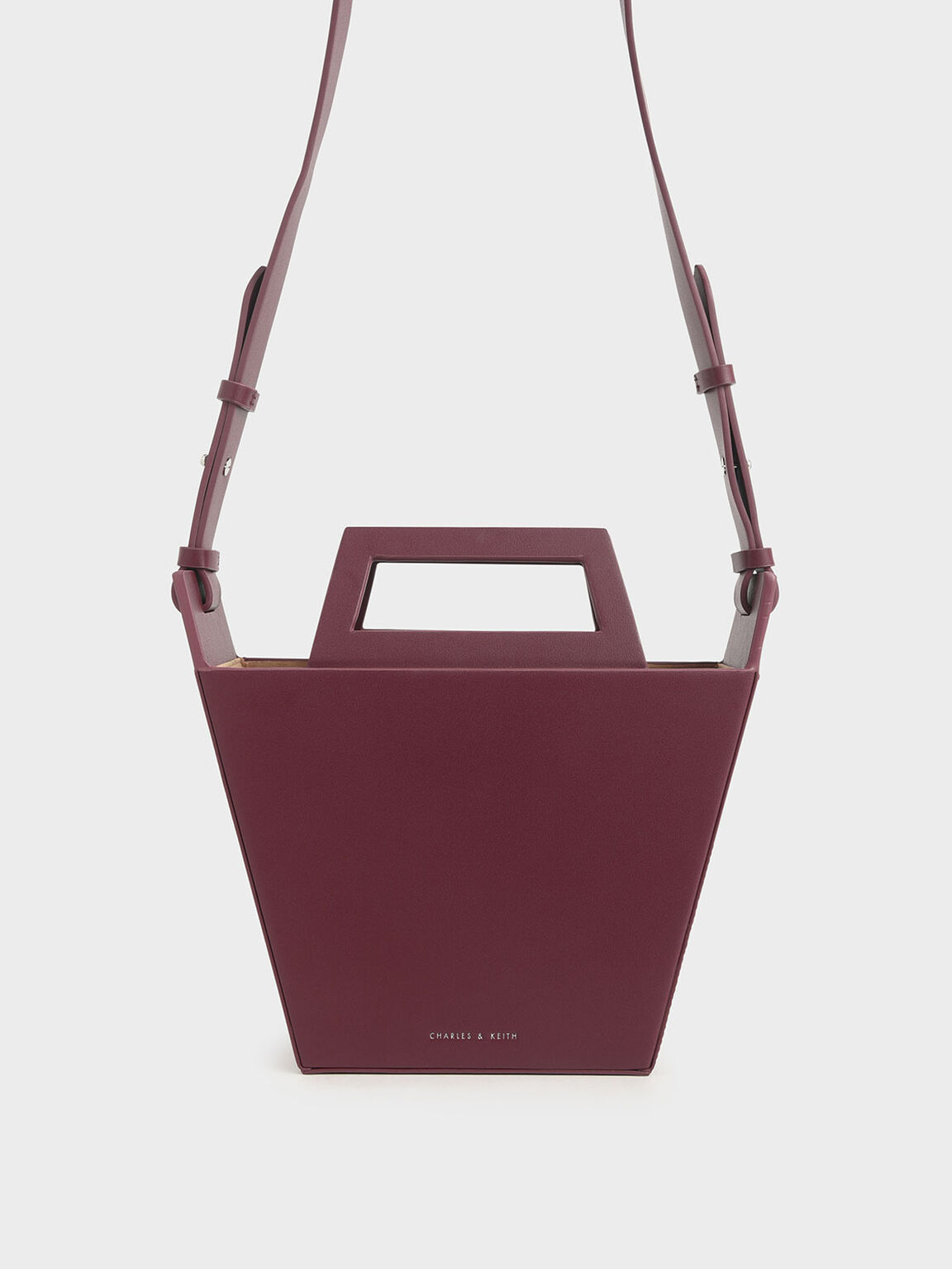 Structured Trapeze Tote, Burgundy, hi-res