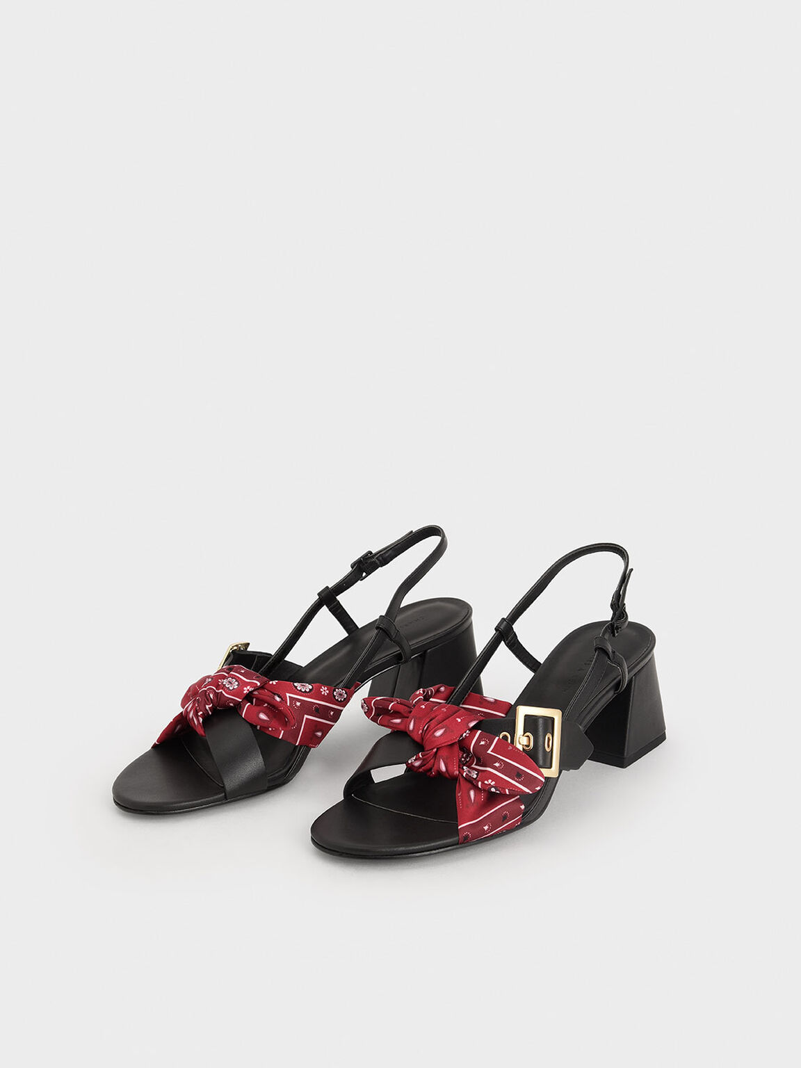Purpose Collection -  Bandana Print Knot Slingbacks, Red, hi-res