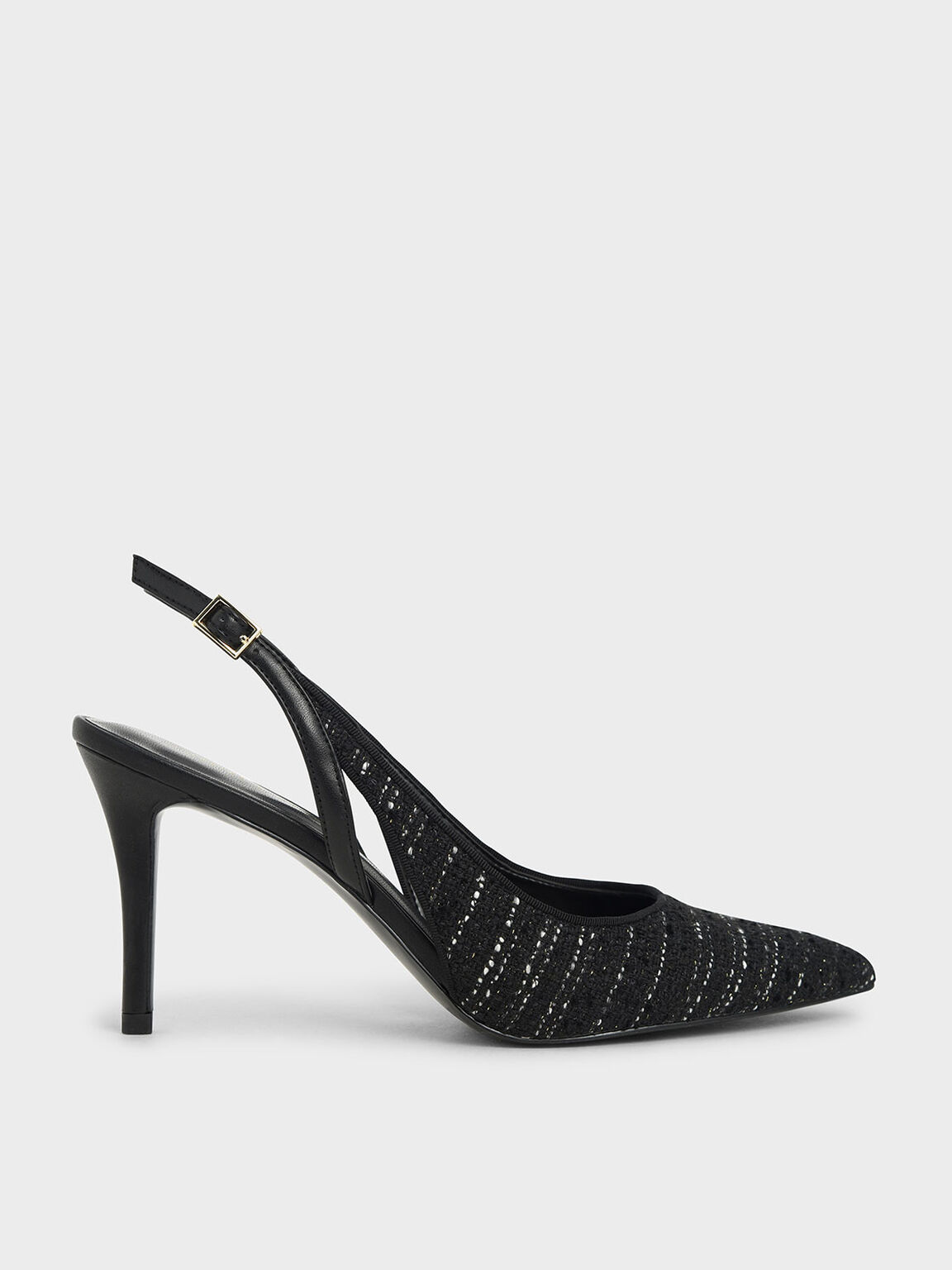 Tweed Cut-Out Slingback Pumps, Black Textured, hi-res