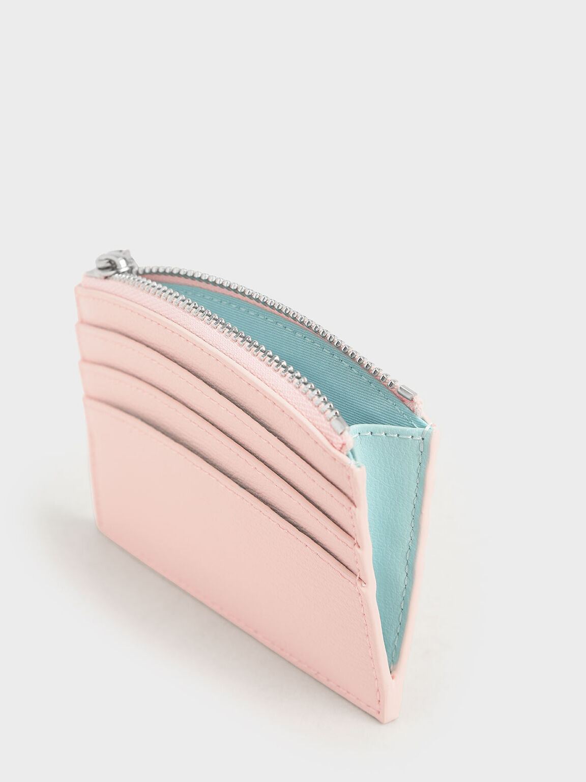 Two-Tone Multi-Slot Zip Card Holder, Light Pink, hi-res