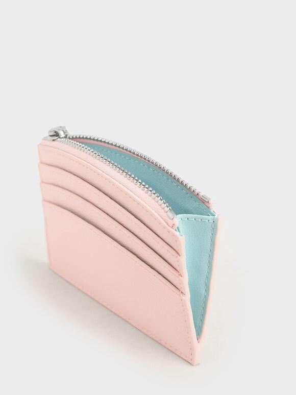 투-톤 멀티-슬롯 지퍼 카드 홀더, 라이트 핑크, hi-res
