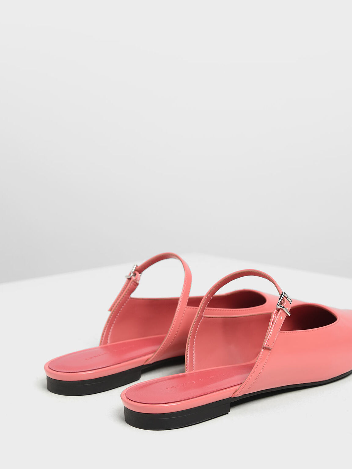Patent Mary Jane Mules, Coral Pink, hi-res