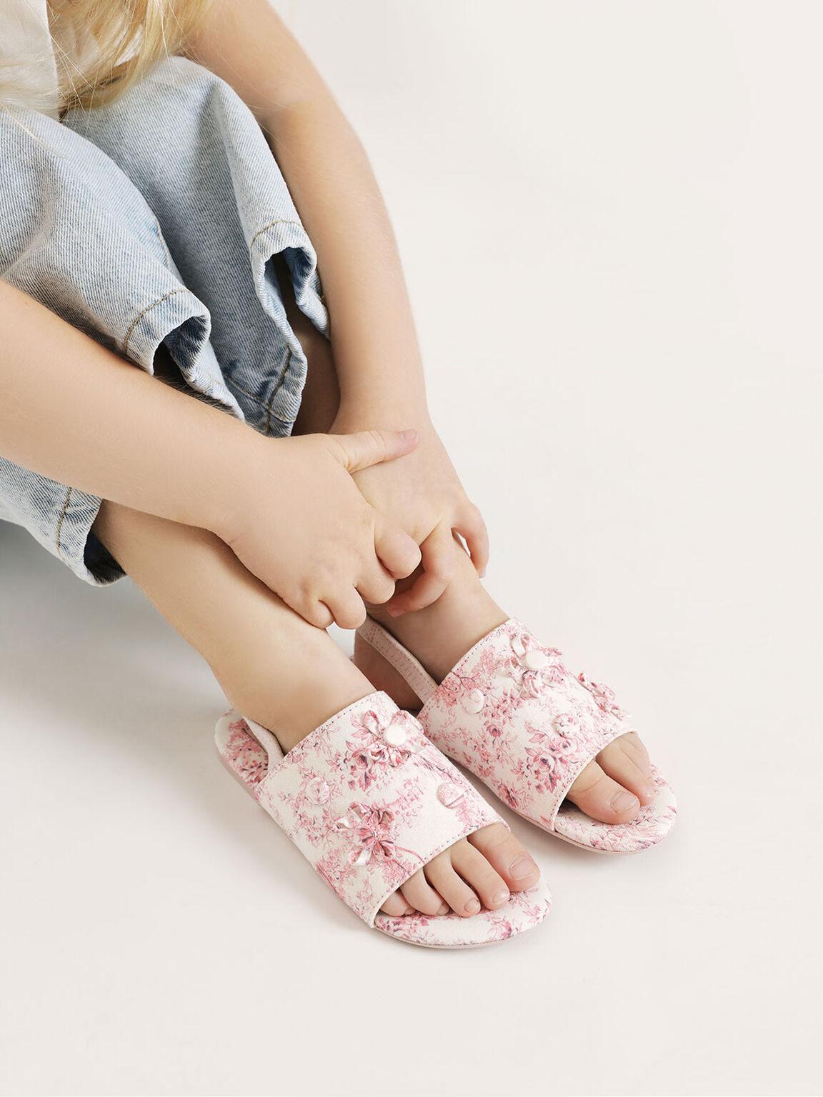 Kids' Floral Fabric Slingback Flats, Pink, hi-res