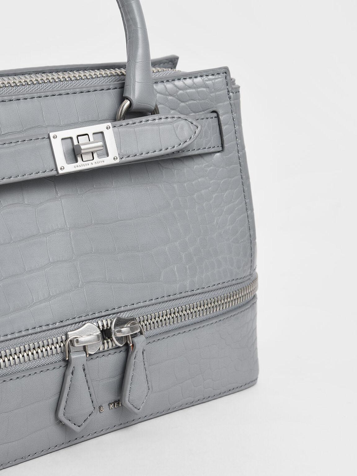 Croc-Effect Two-Way Zip Structured Bag, Grey, hi-res