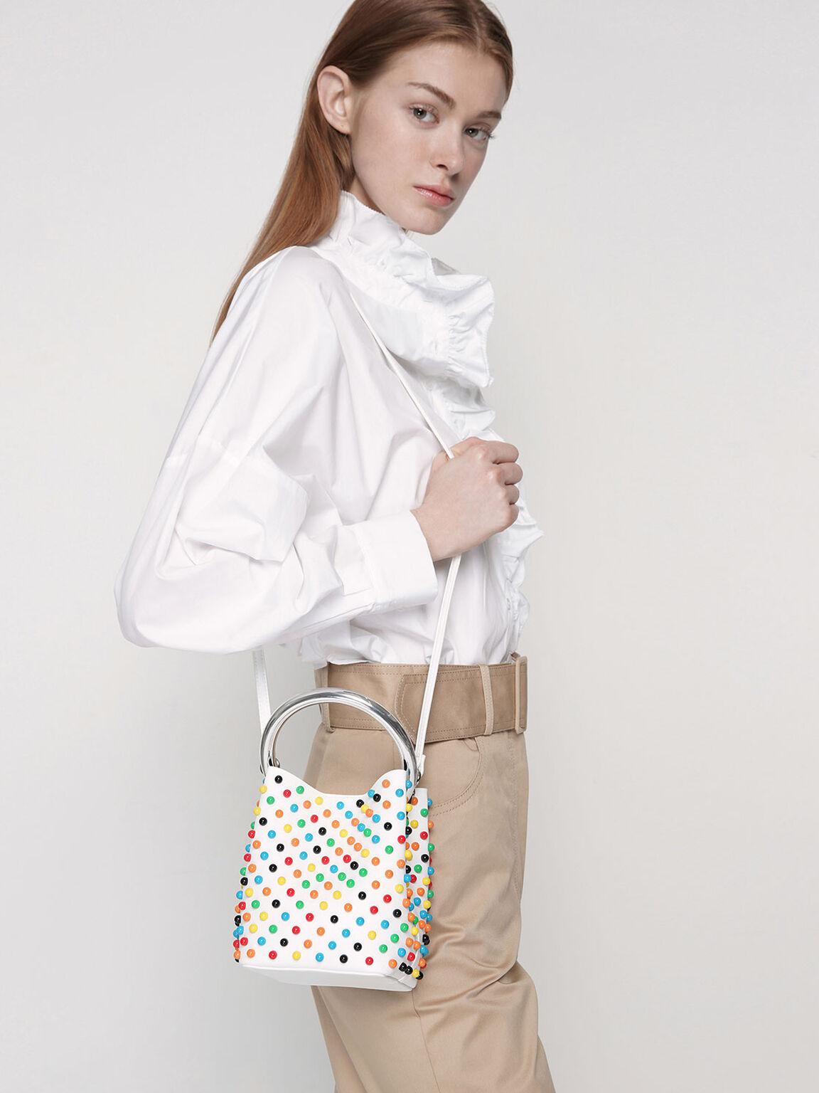 Embellished Bucket Bag, White, hi-res