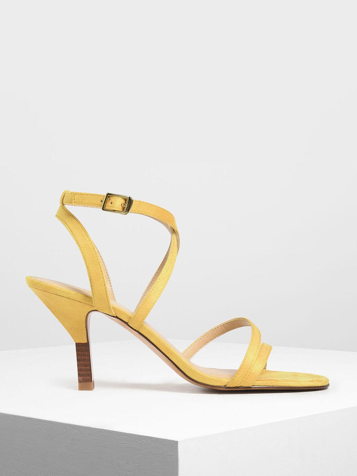 Strappy Blade Heel Sandals, Mustard, hi-res