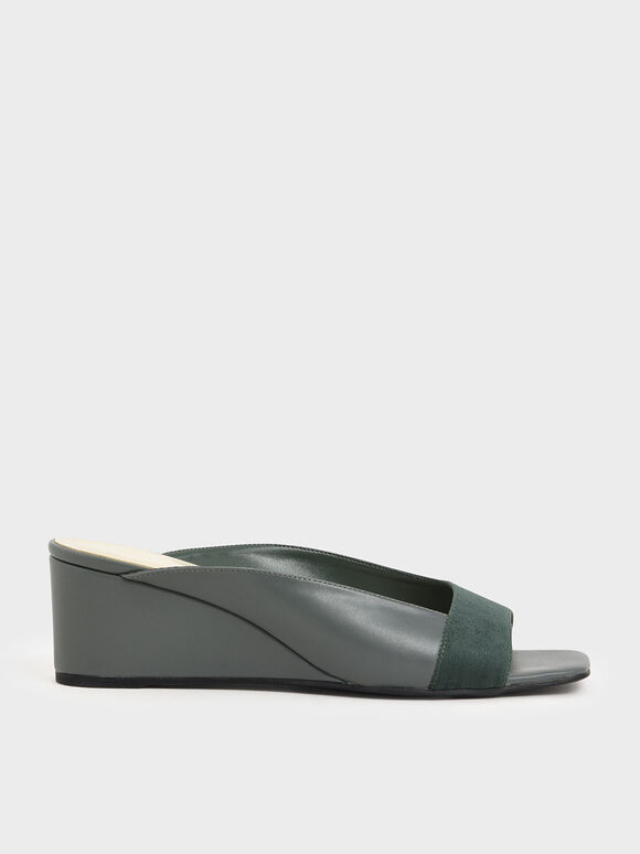 Asymmetrical Open Toe Wedges, Green, hi-res