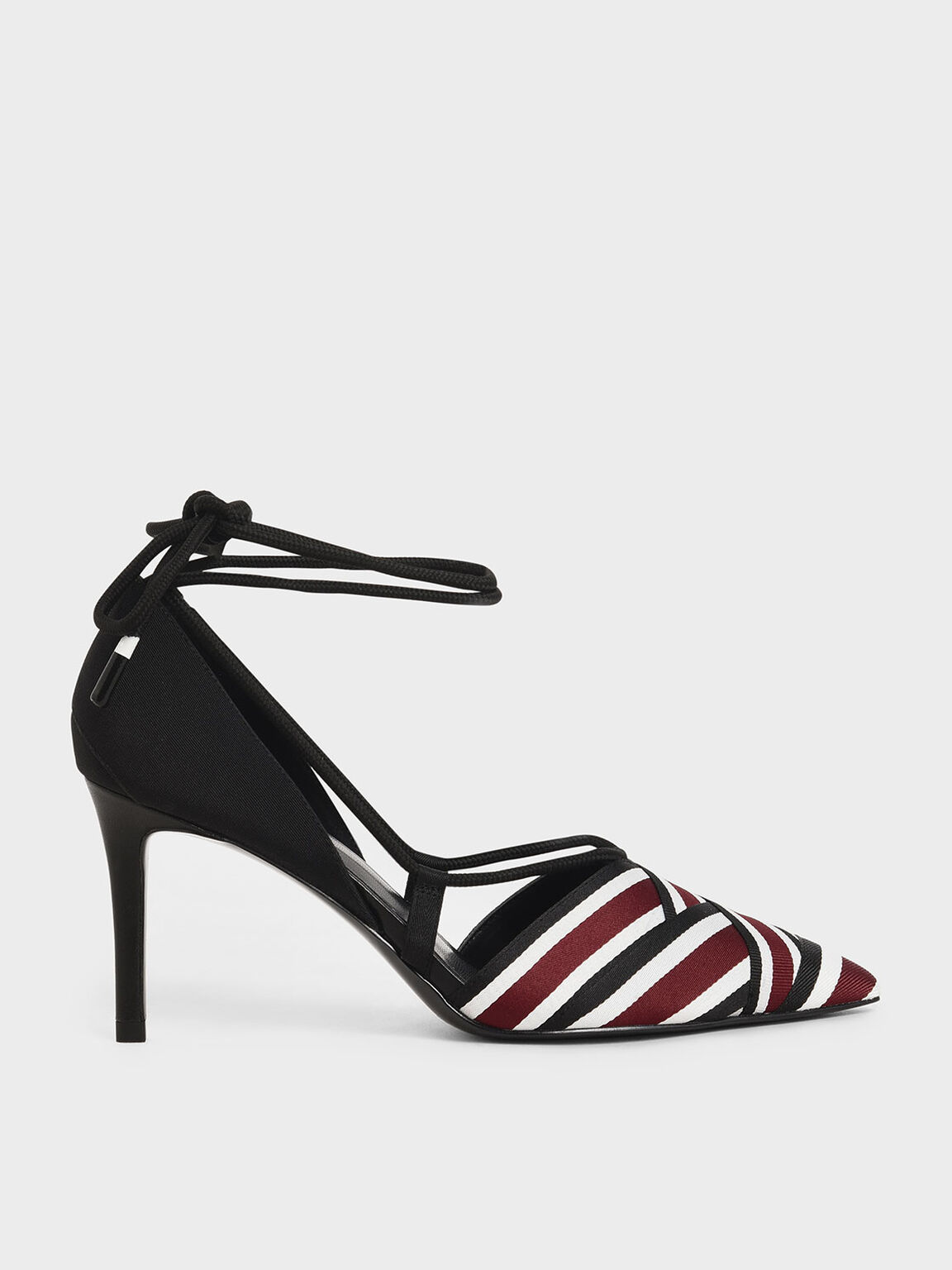 Multicoloured Grosgrain & Rope Pumps, Burgundy, hi-res
