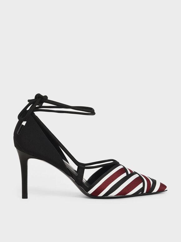 羅緞繩索綁帶跟鞋, 酒紅色, hi-res