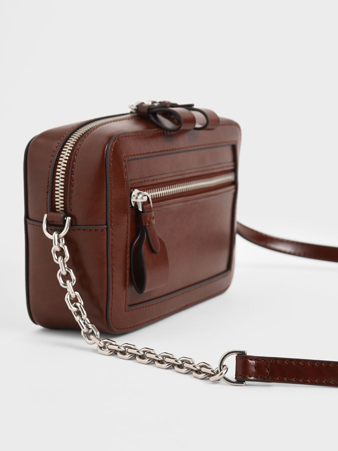 Two-Way Zip Shoulder Bag, Brown, hi-res