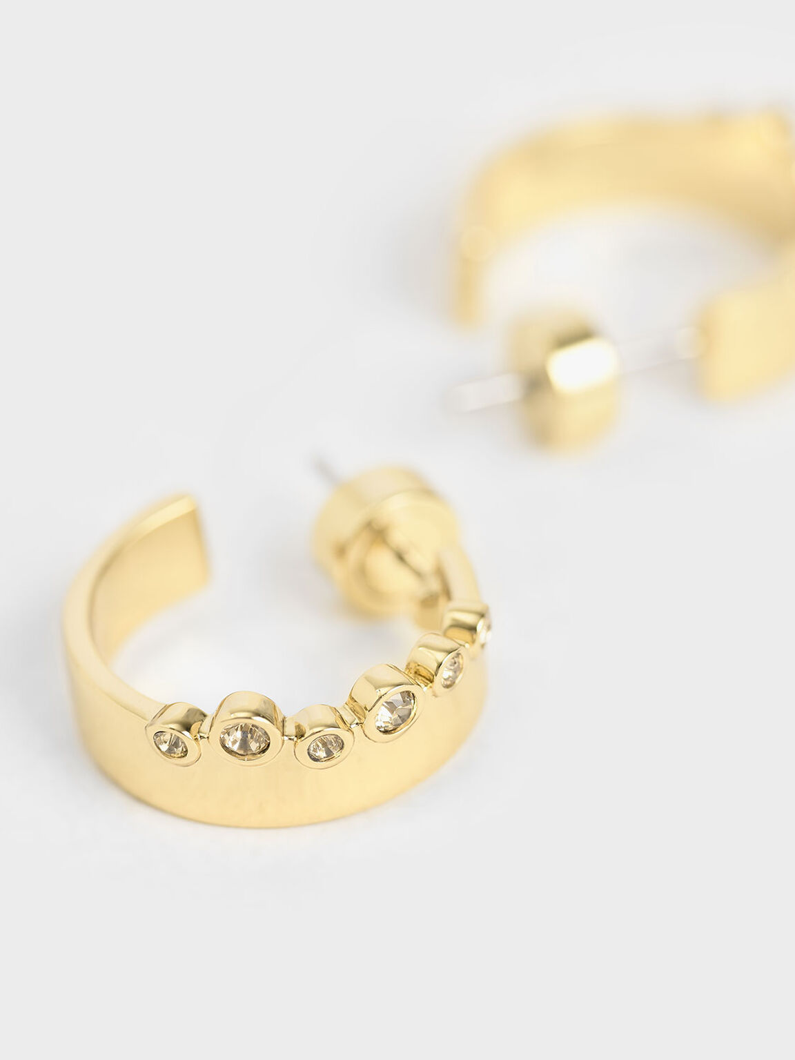 Swarovski® Crystal Studded Hoop Earrings, Gold, hi-res