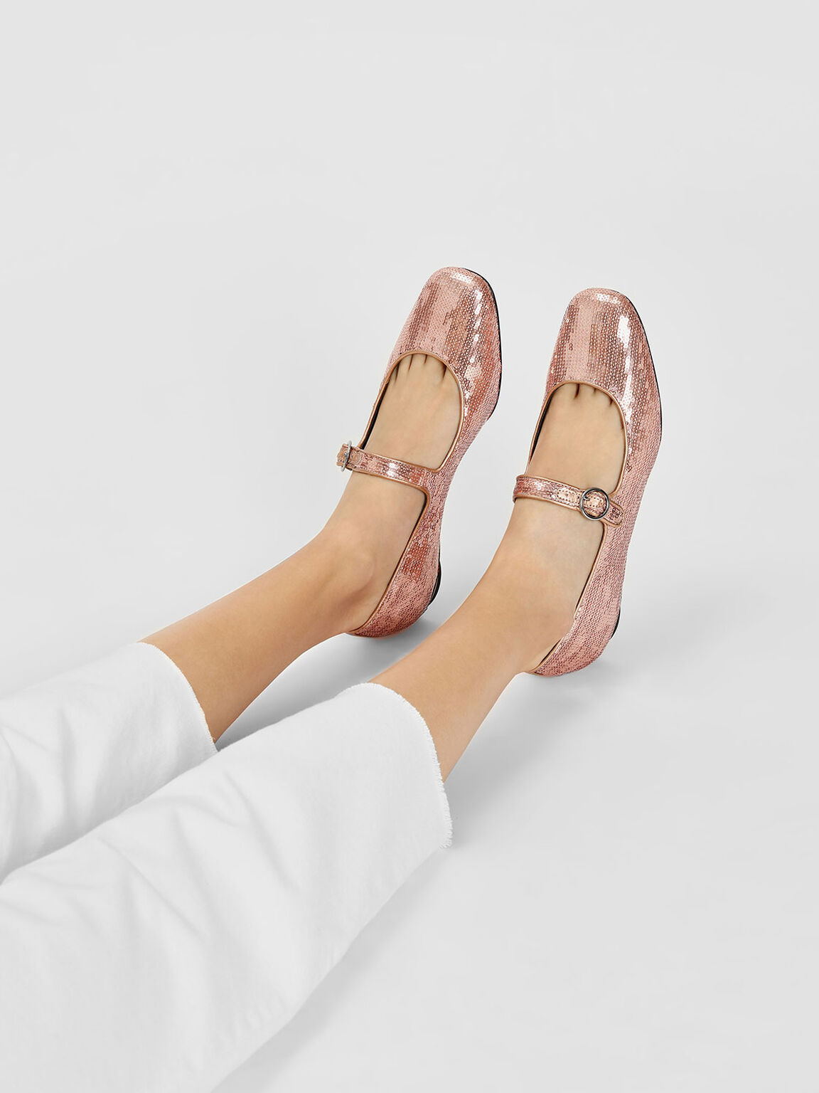 Sequin Mary Jane Flats, Pink, hi-res