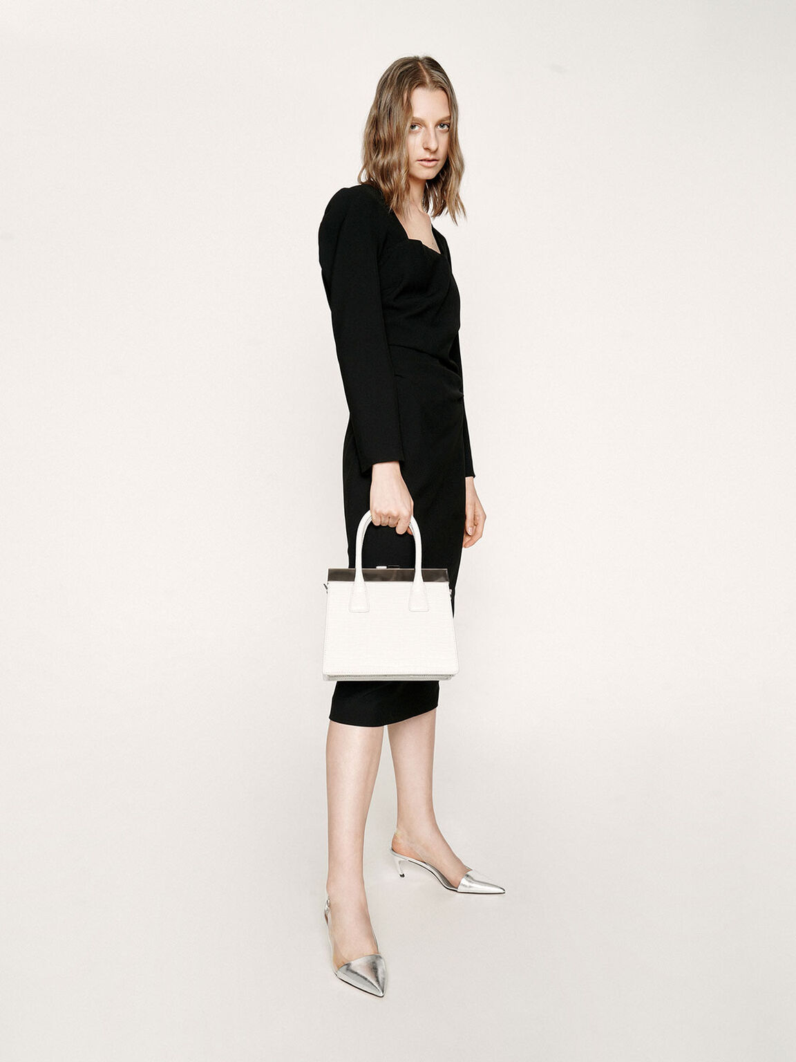 Croc-Effect Leather Top Handle Bag, White, hi-res