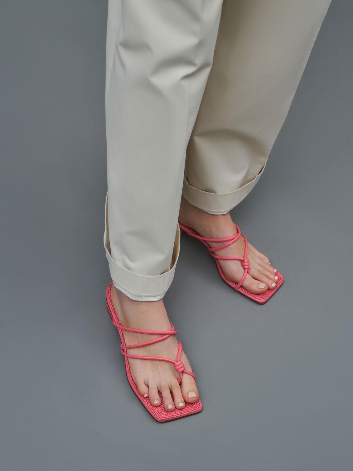 扭結草編粗跟拖鞋, 紅色, hi-res