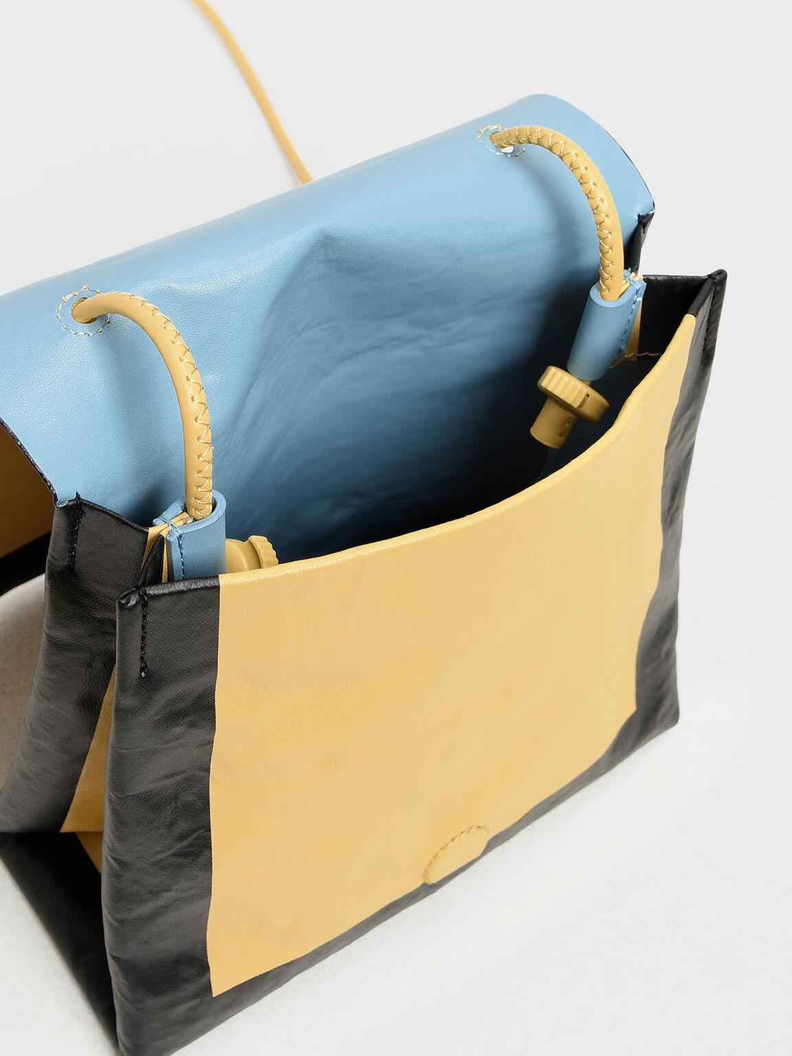 Crumpled Effect Top Handle Bag, Yellow, hi-res