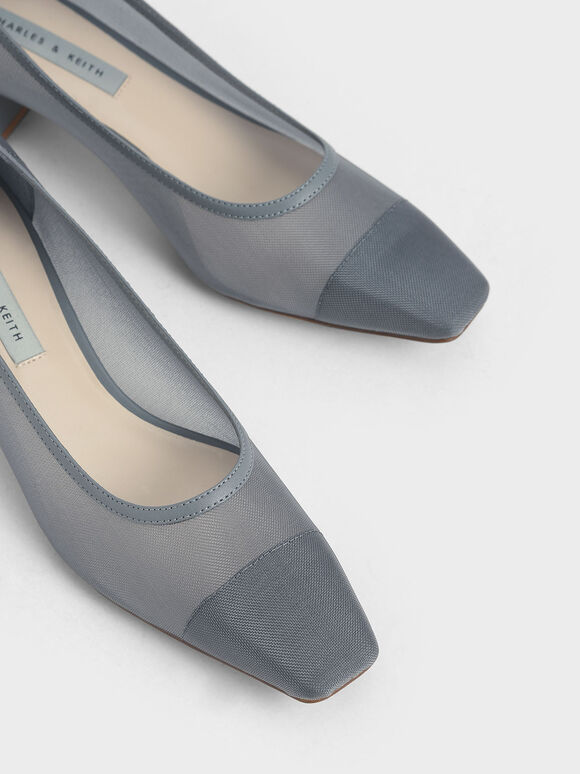 網紗方頭跟鞋, 灰色, hi-res