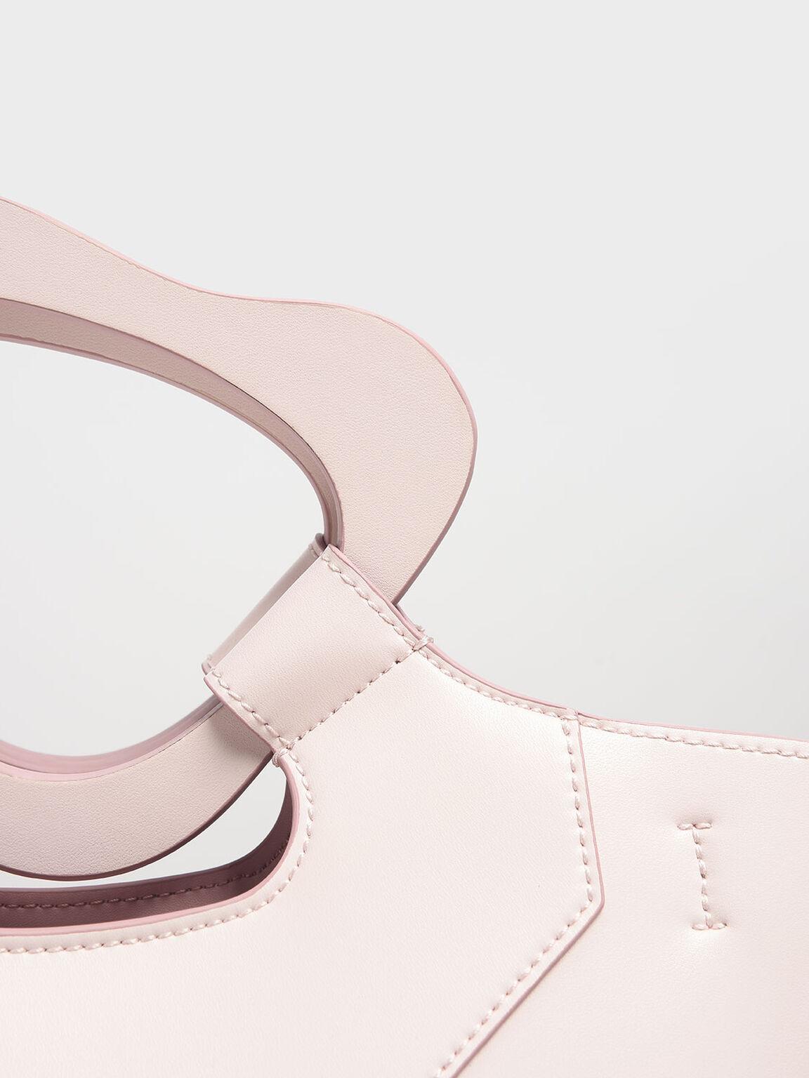 Sculptural Handle Tote, Light Pink, hi-res