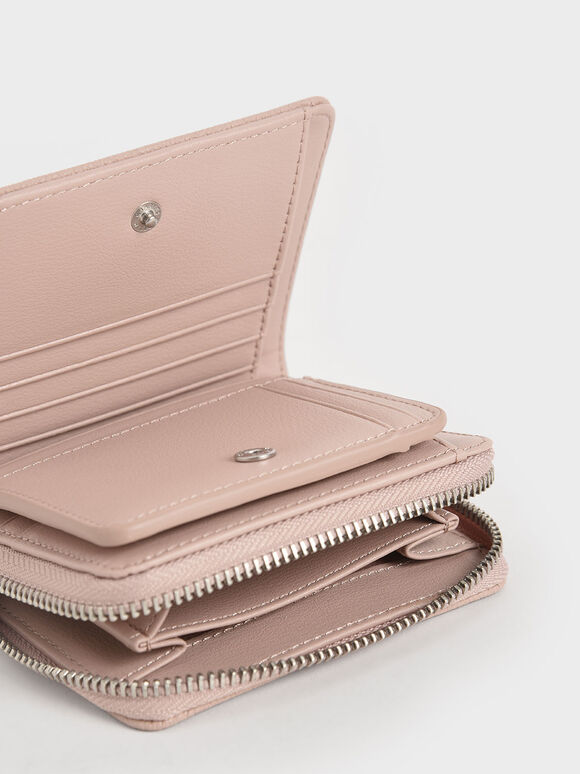 方形拉鍊短夾, 粉紅色, hi-res