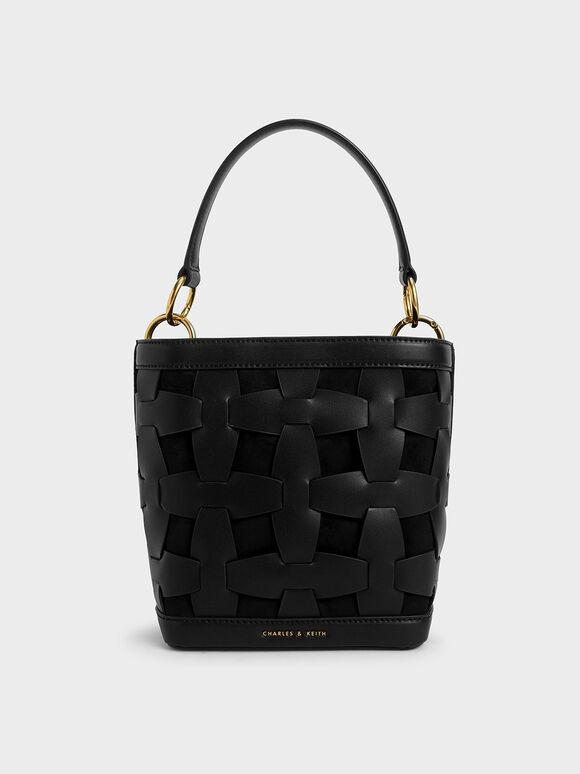 Weave Detail Bucket Bag, Black, hi-res