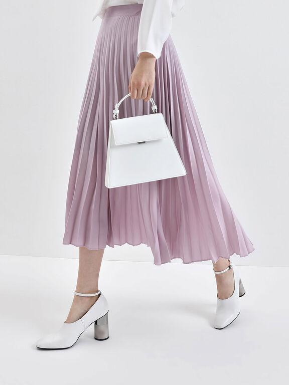 Angular Top Handle Bag, White